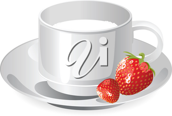 cup of milk and srtawberry isolated on a white background