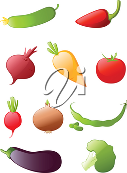 colored glossy vegetables icon set
