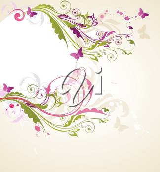 Round floral banner with butterflies and ornament