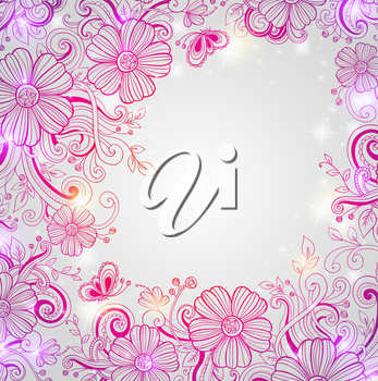 Abstract vector hand drawn floral background