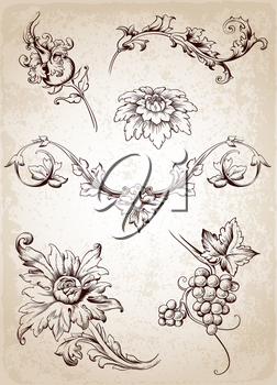 Vector vintage Victorian floral elements for design
