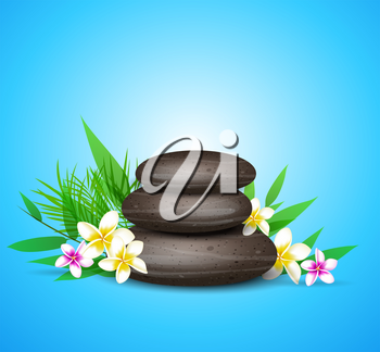 Blue vector background with green leaves, spa stones and tropical flowers.