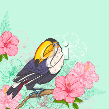 Pink tropical flowers and toucan on a green background. Hand drawn vector illustration.