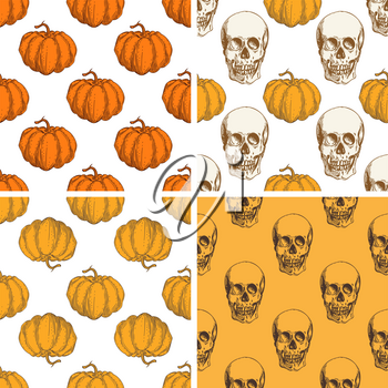 Decorative vector vintage seamless patterns with pumpkin and skull for Halloween