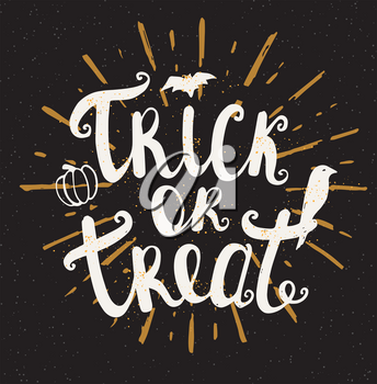 Black Halloween background. Trick or treat lettering. Hand drawn vector illustration.