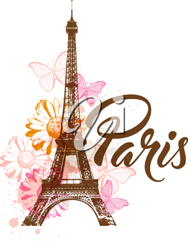 Vector abstract background with Eiffel tower, flowers and butterflies.