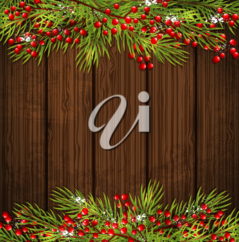 Decorative Christmas card with green fir branch and red berries on a wooden background. Vector illustration.