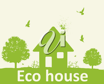 Landscape with green tree, birds and house. Eco-friendly house concept.