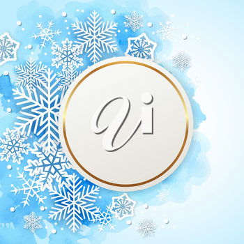Blue Christmas watercolor background with round frame and  white snowflakes. New year greeting card. Vector illustration