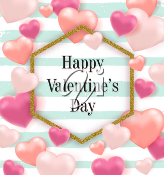 Pink and red balloon hearts and golden glittering frame on a striped green background. Valentine's day greeting card. Vector illustration