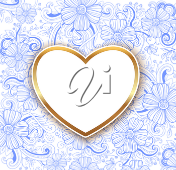 Decorative blue floral background with golden heart. Design for Valentine's day. Hand drawn vector illustration.