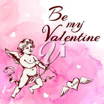 Vintage romantic Valentine card with cupid and heart on a pink watercolor background. Vector illustration.