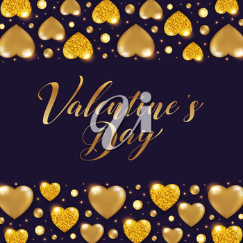 Decorative Valentine background with shining golden glittering hearts and gemstones. Vector illustration.