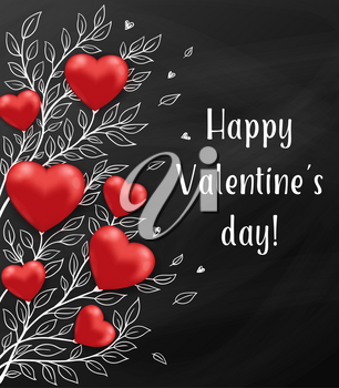 Floral holiday background with red hearts and leaves on a blackboard. Greeting card for Saint Valentine's day. Hand drawn vector illustration.