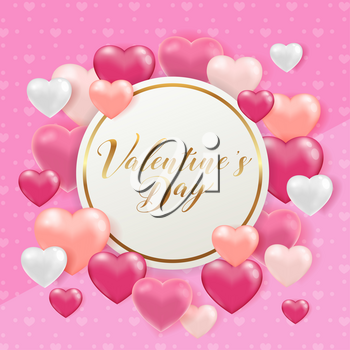 Saint Valentine's day greeting card with pink and white hearts. Holiday background with golden round frame and lettering. Vector illustration.