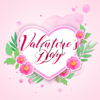 Watercolor pink flowers and green leaves on a pink background. Greeting card for Saint Valentine's day with heart. Vector illustration.