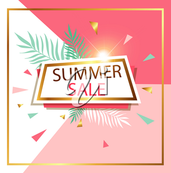 Abstract pink vector background for seasonal summer sale. Shining banner in retro style.