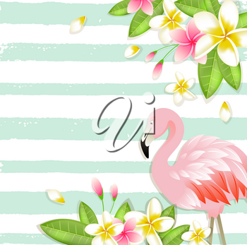 Summer vector tropical background with flowers, green leaves and pink flamingo.