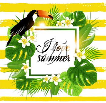Tropical background with palm leaves and toucan bird. Abstract yellow striped tropical summer banner.