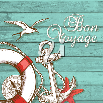 Vintage vector travel background with lifebuoy and anchor on a green wooden surface. Bon voyage lettering.