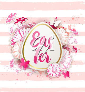 Decorative Easter egg with red and pink daisy flowers. Festive floral background. Vector illustration. Holiday greeting card.