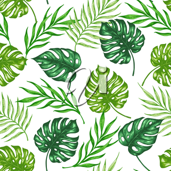 Tropical summer seamless pattern with green palm leaves and branch. Hand drawn vector background