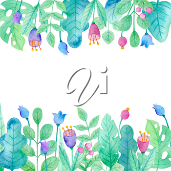 Watercolor floral background with blue and pink flowers and green leaves.
