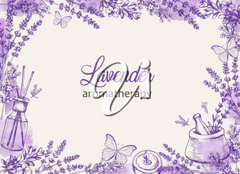 Vintage floral frame with purple lavender flowers and butterflies. Spa and aromatherapy ingredients. Hand drawn vector background.