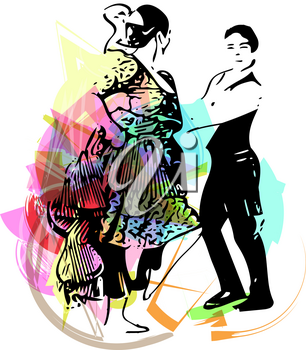Illustration of Couple dancing. Vector Illustration