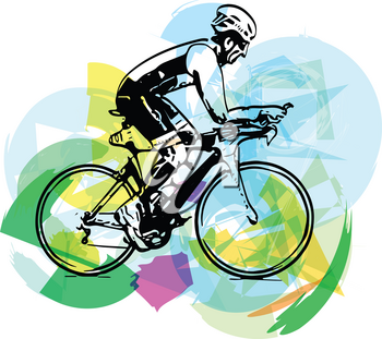 Sketch of male on a bicycle with abstract background