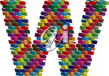 Colorful three-dimensional font letter w