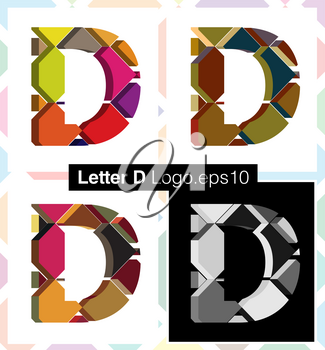 Colorful three-dimensional font letter D