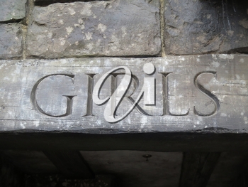 Girls word on wood, Toilet sign