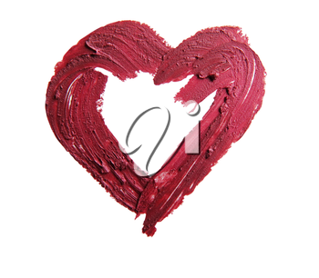smashed red heart shape isolated on white background