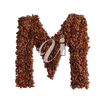 Letter M made with Linseed also known as flaxseed isolated on white background. Clipping Path included