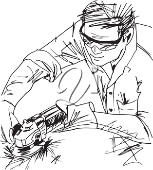 Sketch of man with circular saw vector illustration