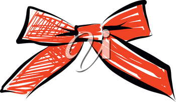 Sketch Bow With Red Ribbon Isolated. Hand Drawn Vintage Decorative Element For Gifts And Presents Vector Illustration