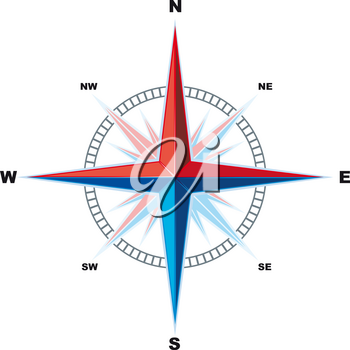 Classical Compass Windrose isolated on a white background is. Indicating the cardinal