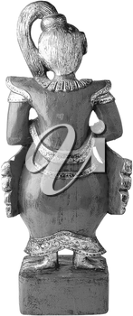 Royalty Free Black an White Photo of an Asian Culture Figurine