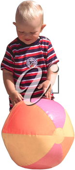 Royalty Free Photo of an Infant Child Playing With a Beach Ball