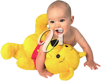 Royalty Free Photo of an Infant Child With a Stuffed Teddy Bear