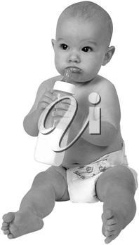 Royalty Free Black and White Photo of an Infant Child Holf=ding a bottle