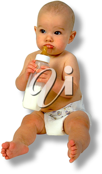 Royalty Free Photo of an Infant Child Holding a Bottle