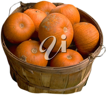 Royalty Free Photo of a Basket of Pumpkins