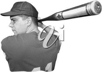Royalty Free Black and White Photo of a Baseball Player