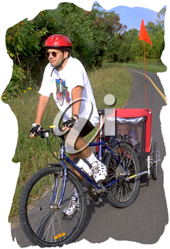 Royalty Free Photo of a Man Stopped on His Bike with Child