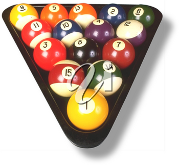 Royalty Free Photo of a Billiard Balls in a Triangle