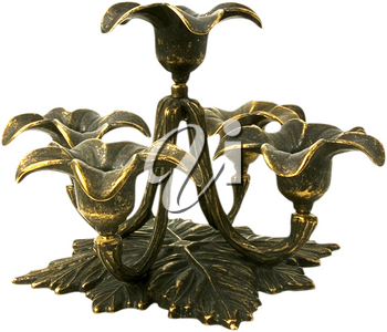 Royalty Free Photo of a Green Brass Candelabra