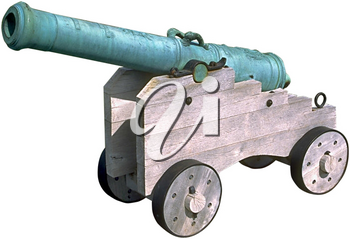 Royalty Free Photo of a Diecast Cannon on a Wooden Carriage