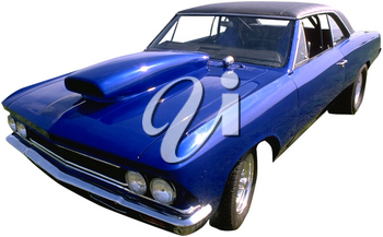 Royalty Free Photo of a Bright Blue Stock Car